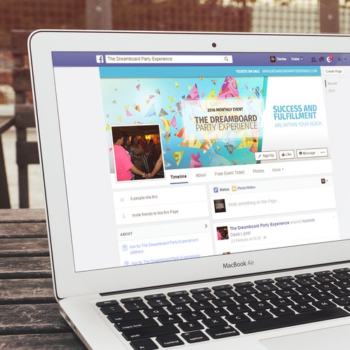 Facebook cover photo for Dreamboard Party Experience