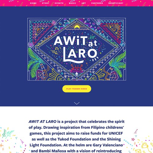 Awit at Laro | Website for a Book and Music Album Project