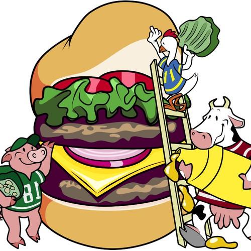 Cartoon Illustration - Farm Animals Building a Hamburger