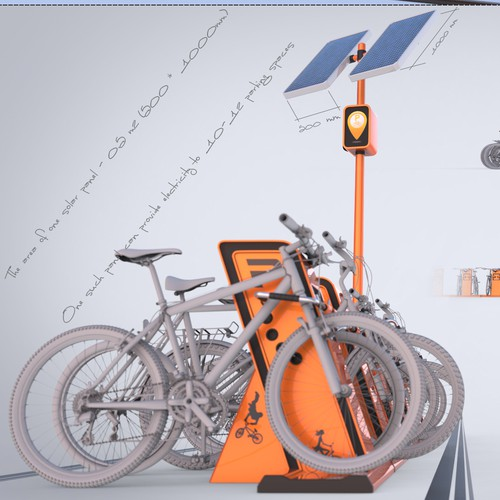 Concept and external view of smart bicycle parking rack
