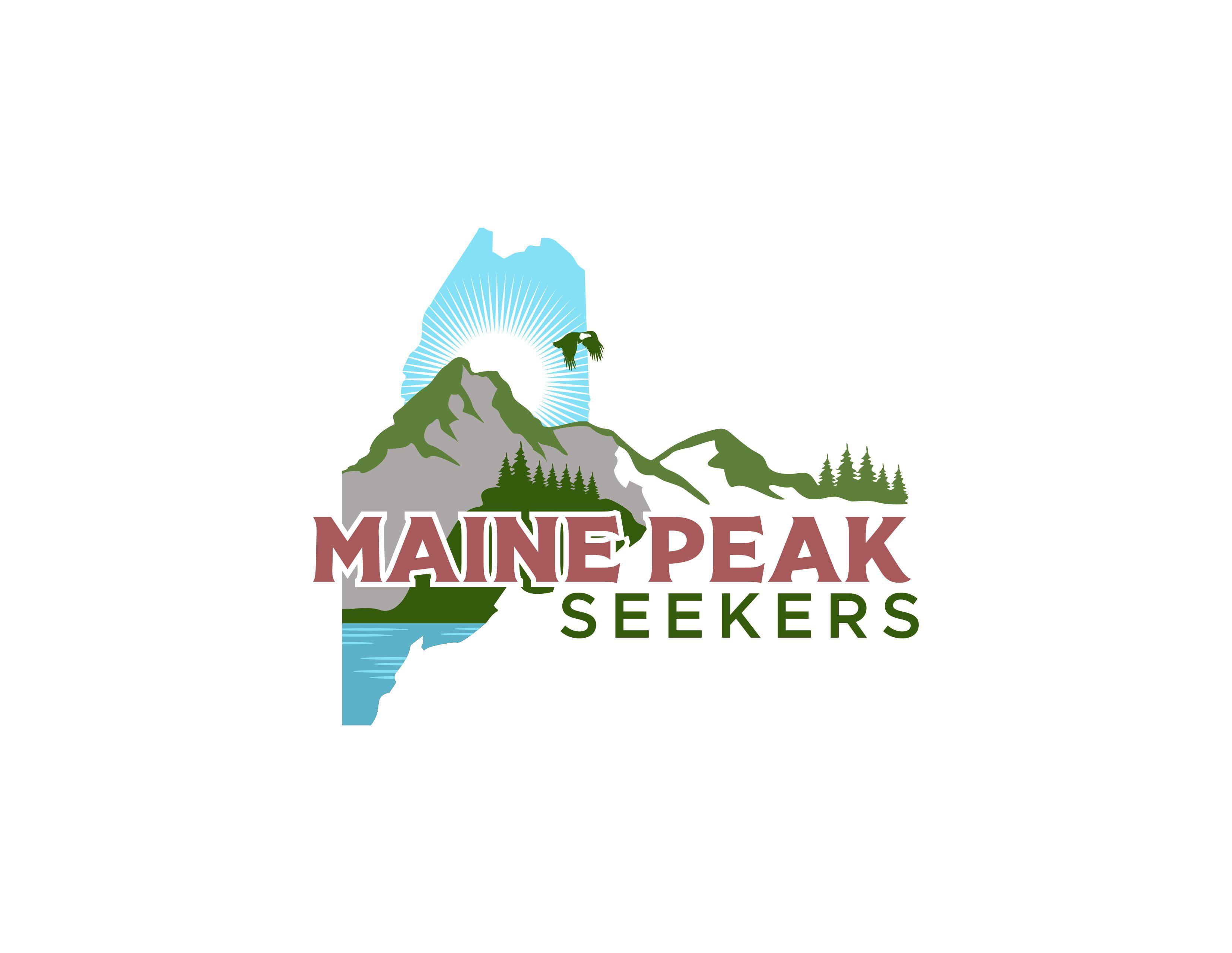Classic meets youthful Maine hiking logo