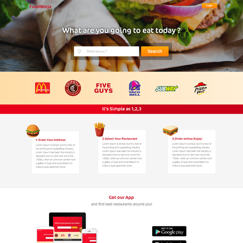 Fast Food Delivery Landing Page.