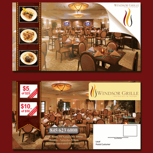 Design a EDDM compliant postcard advertising our restaurant & bar!