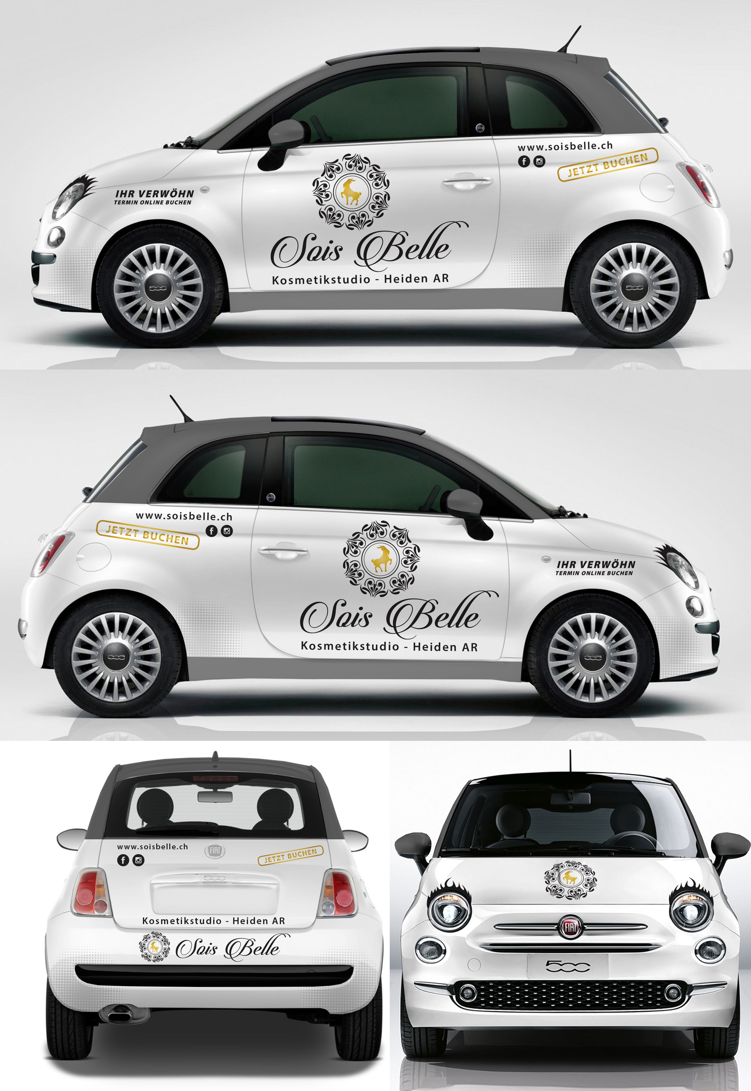 Cosmetic Ad on a beautifull Fiat 500C with eyelashes
