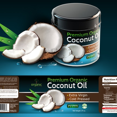 New product label wanted for Organic Evolutions Premium Coconut Oil