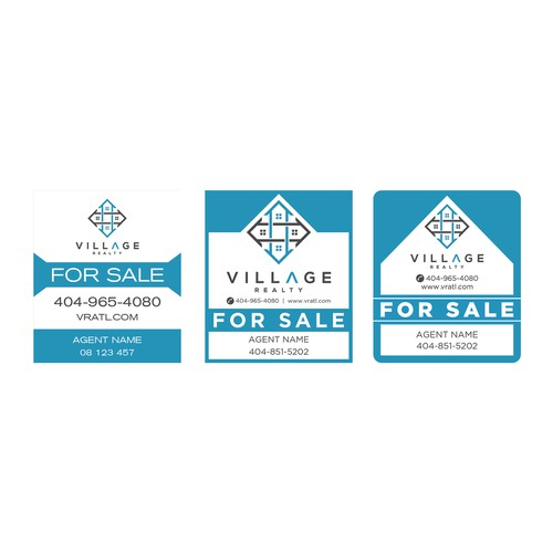 Create 3 variations of a For Sale yard sign for a tech savvy real estate firm