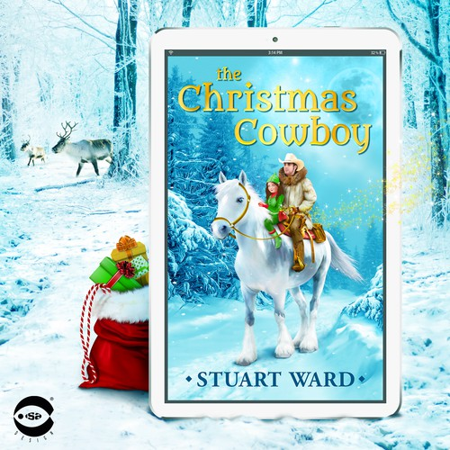 "eBook cover and illustration for ""The Christmas Cowboy"" by Stuart Ward"
