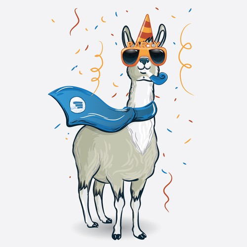 Awesome Party llama illustration