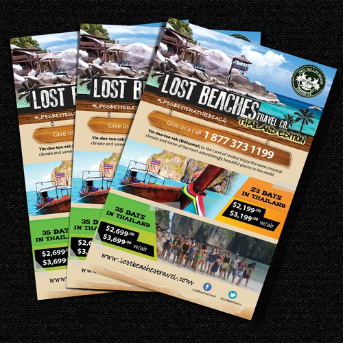 Flyer design for Lost Beaches Travel