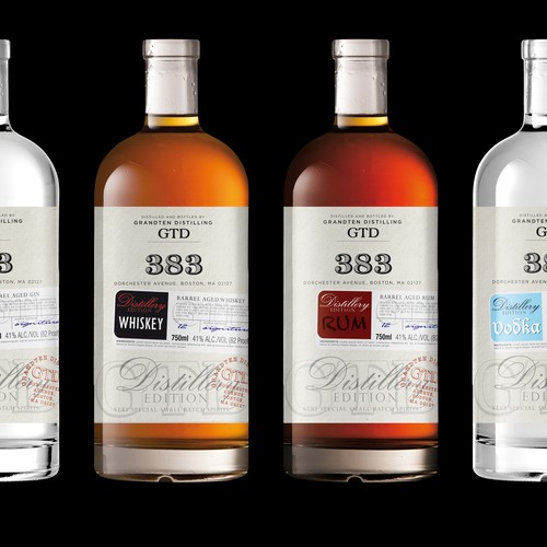 Label for Series of Craft Spirits by GrandTen Distilling