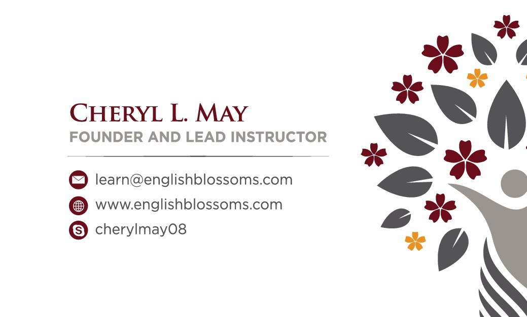 Create a clean and professional business card that will appeal to my blossoming English students.