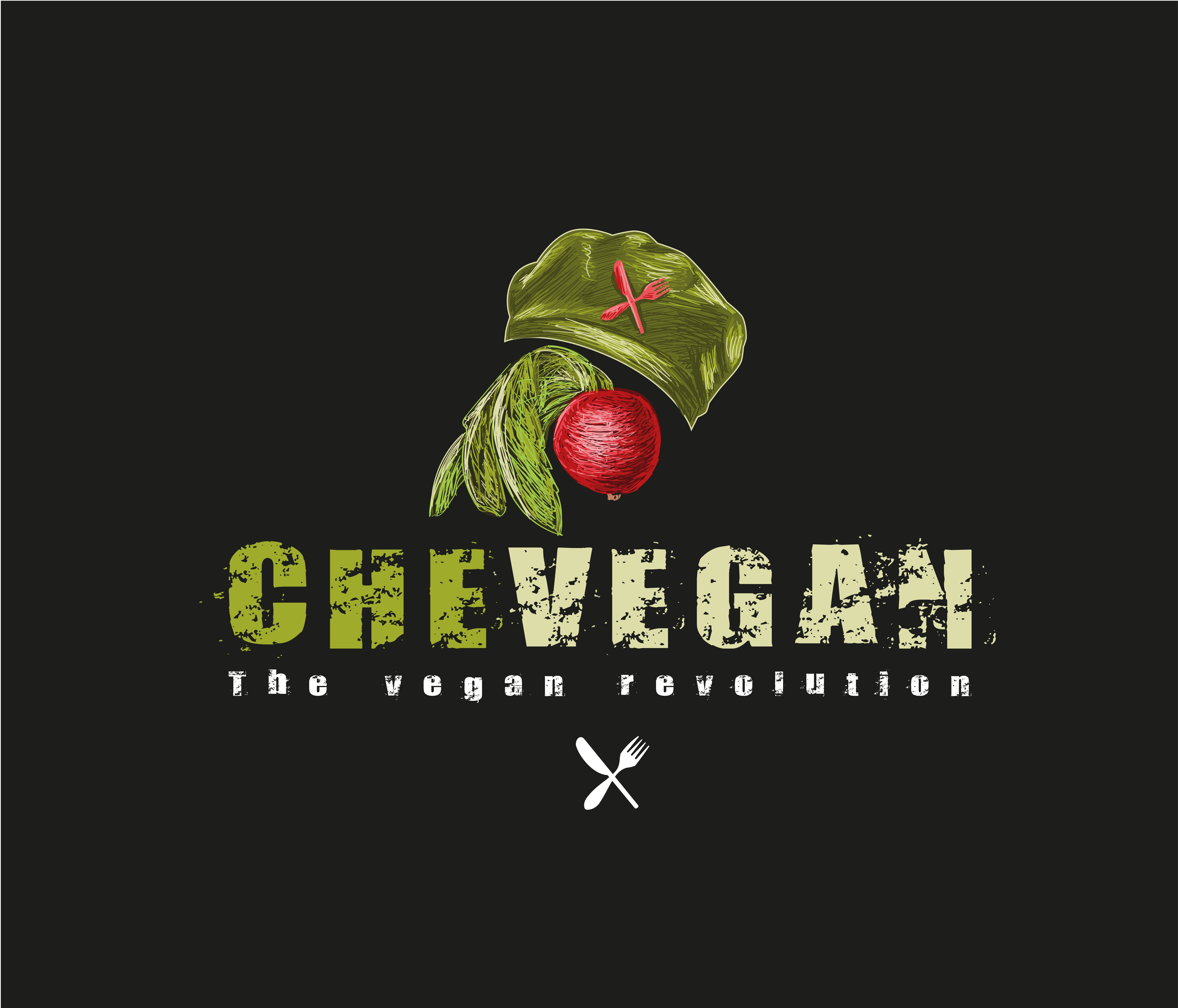 Please design a logo that is revolutionary and fits to the theme of Che Guevara. The vegan revolution.