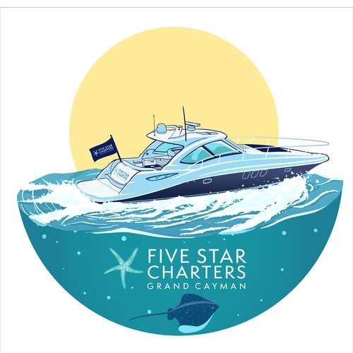 Bold Illustration of Yacht for Five Charters Grand Cayman