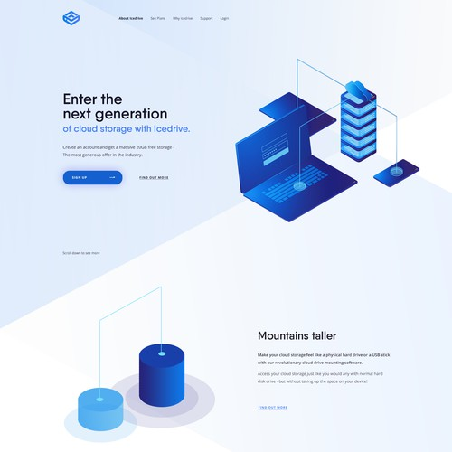 Cloud storage landing page