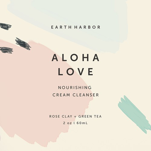 Beachy beauty minimalist label for Earth Harbor Naturals