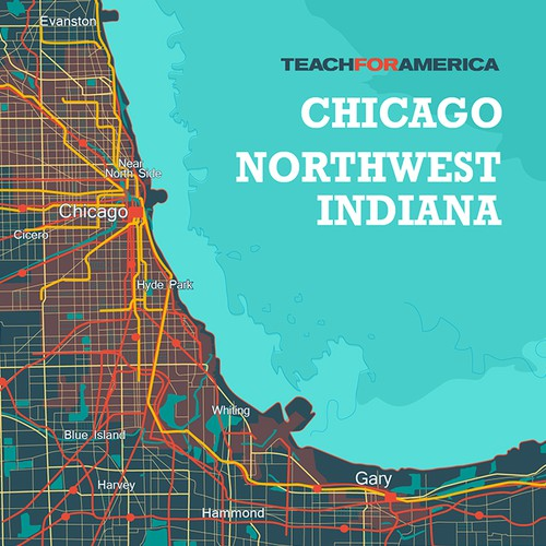 Focal art map for lobby at Teach For America Chicago-Northwest Indiana
