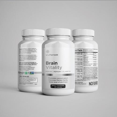 Brain Vitality Bottle Label Design