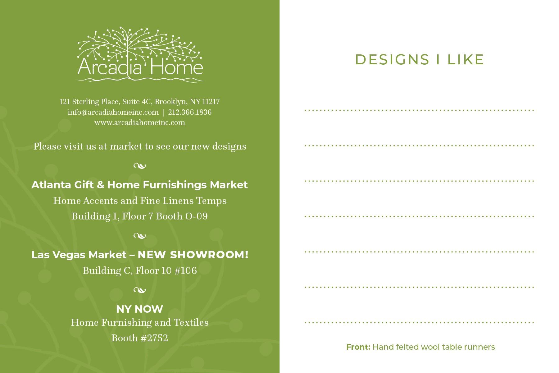 Postcard design for luxury home accessories company