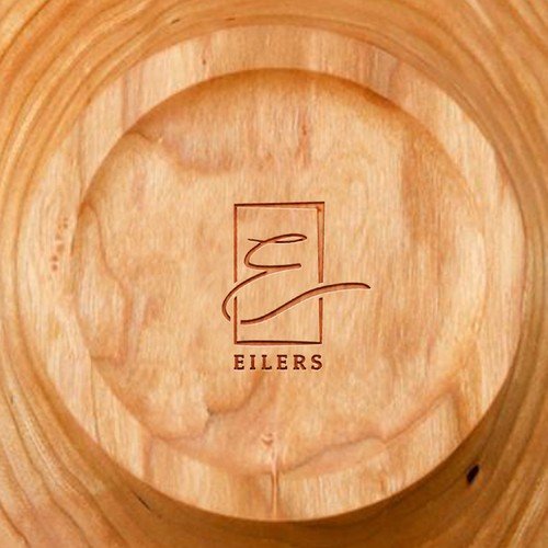 Elegant, hand-drawn logo for wood stamp