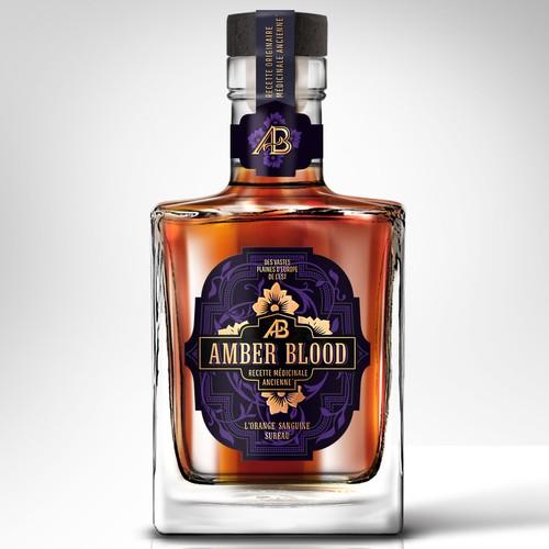 Etiquette haut de gamme pour un spiritueux ambré, Amber Blood