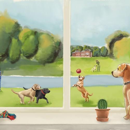 Illustration for dog walking website