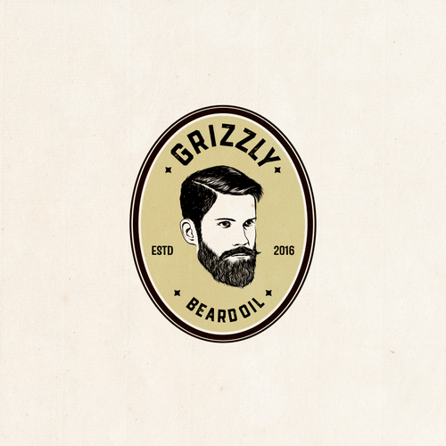 vintage, rustic, hand-drawn logo design for beard oil