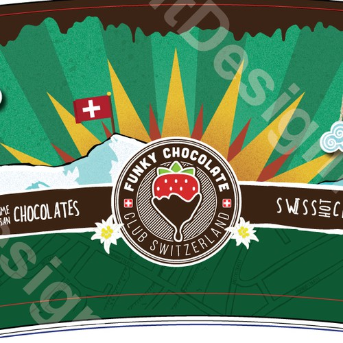8oz Full Color cup design for Swiss Chocolate company