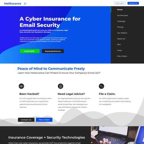 Blue web design for email security