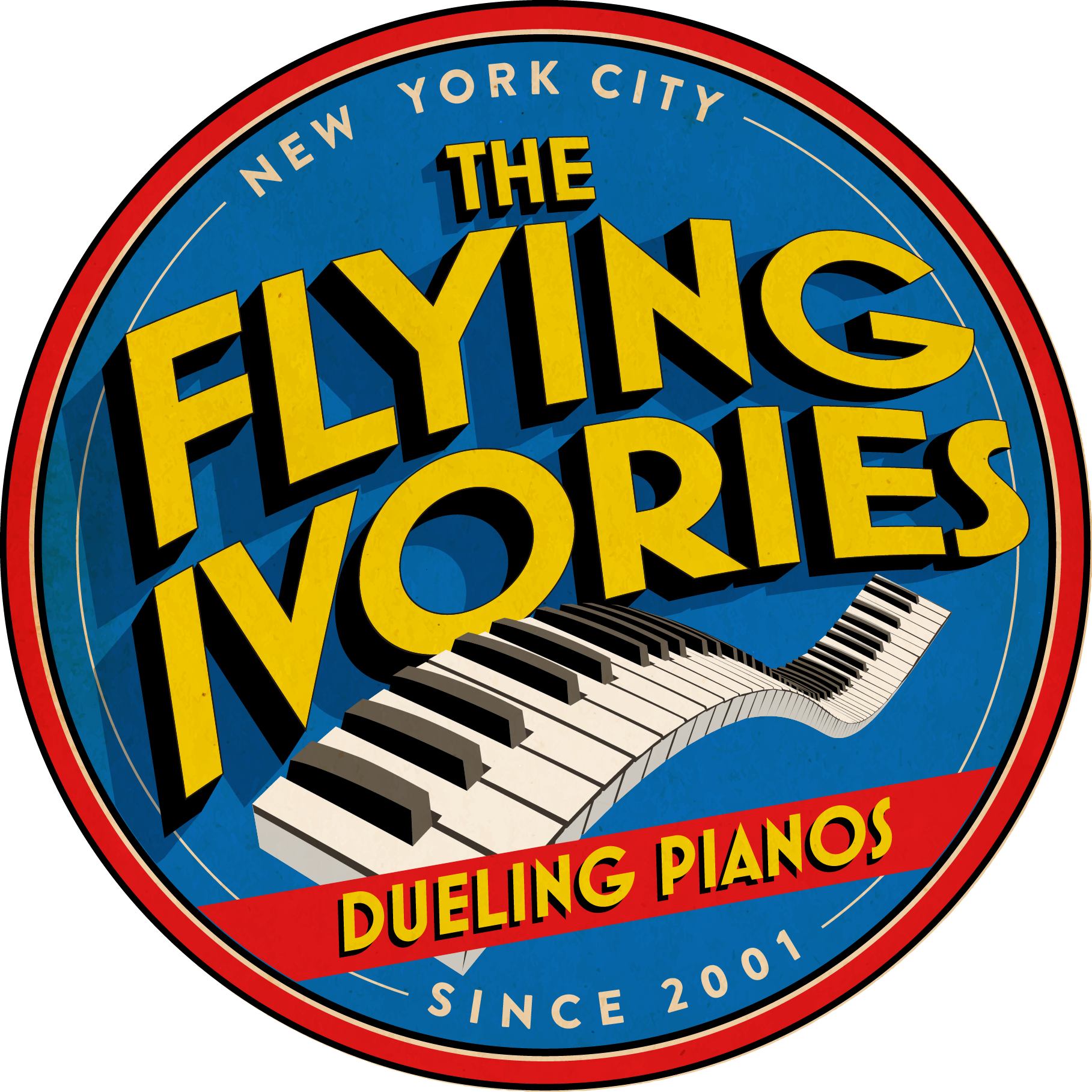 Seeking comic book cover style for THE FLYING IVORIES: DUELING PIANO SHOW.