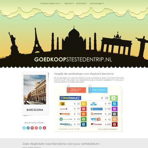 Website design for Cheapestcitytrip.nl (in Dutch Goedkoopstestedentrip.nl)