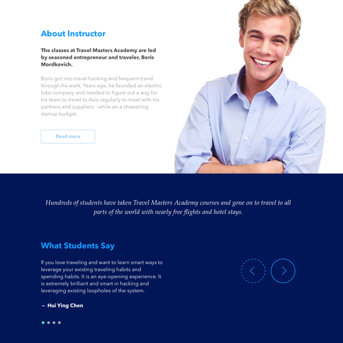 Travel Masters Academy Website Design
