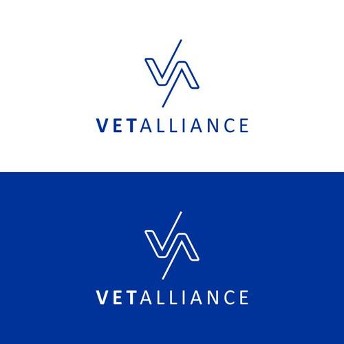simple monoline logo for vet alliance
