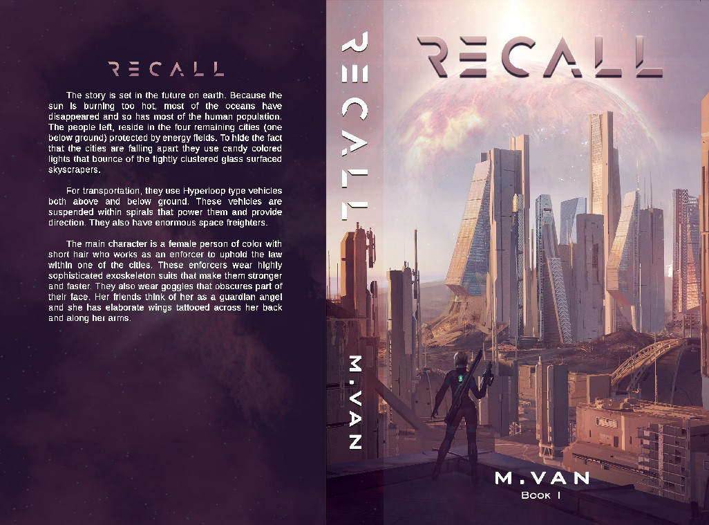 Create a book cover for a fast paced action adventure Sci-fi story