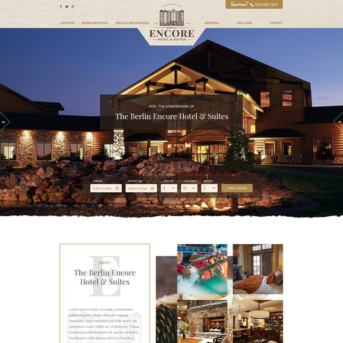 Landing Page Design for Encore Hotel