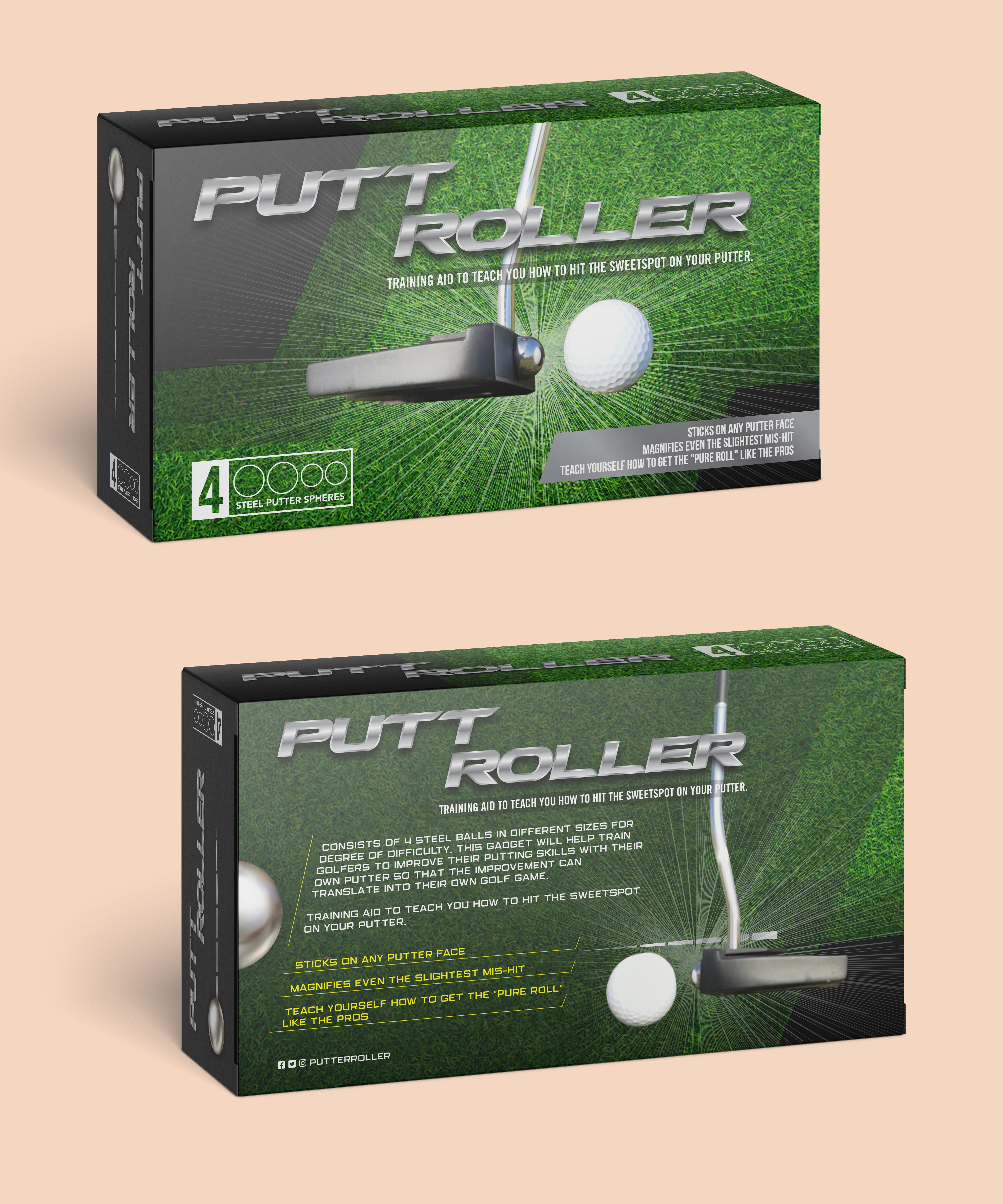 Package design for Golf training gadget to appeal to Golfers of all levels