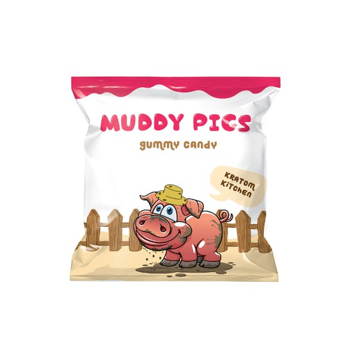 packaging design for muddy pigs gummy candy