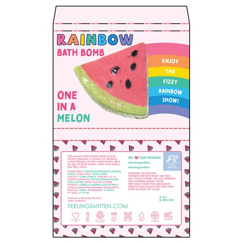Watermelon Bath Bomb Wrap for Rainbow Dissolving Bath Bomb