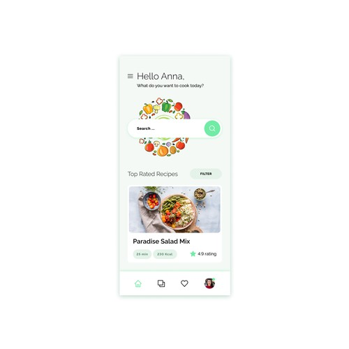 Healthy recipes mobile application.