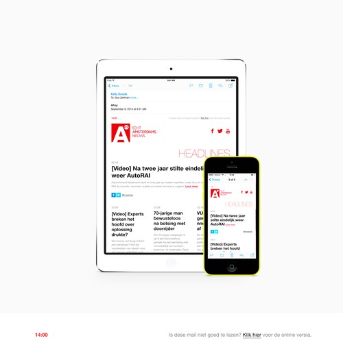 Create e-mail newsletter for Amsterdam local news media company AT5