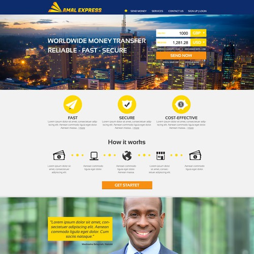 Web design for money transfer business