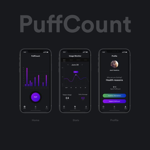 iOs app design for Puff Count
