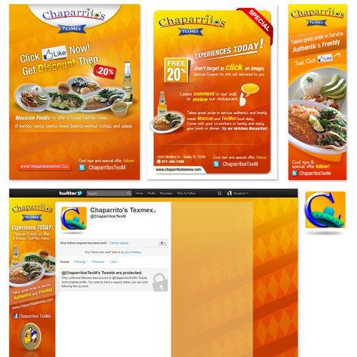 facebook & twitter Art for Chaparrito's TexMex - Social Art Package