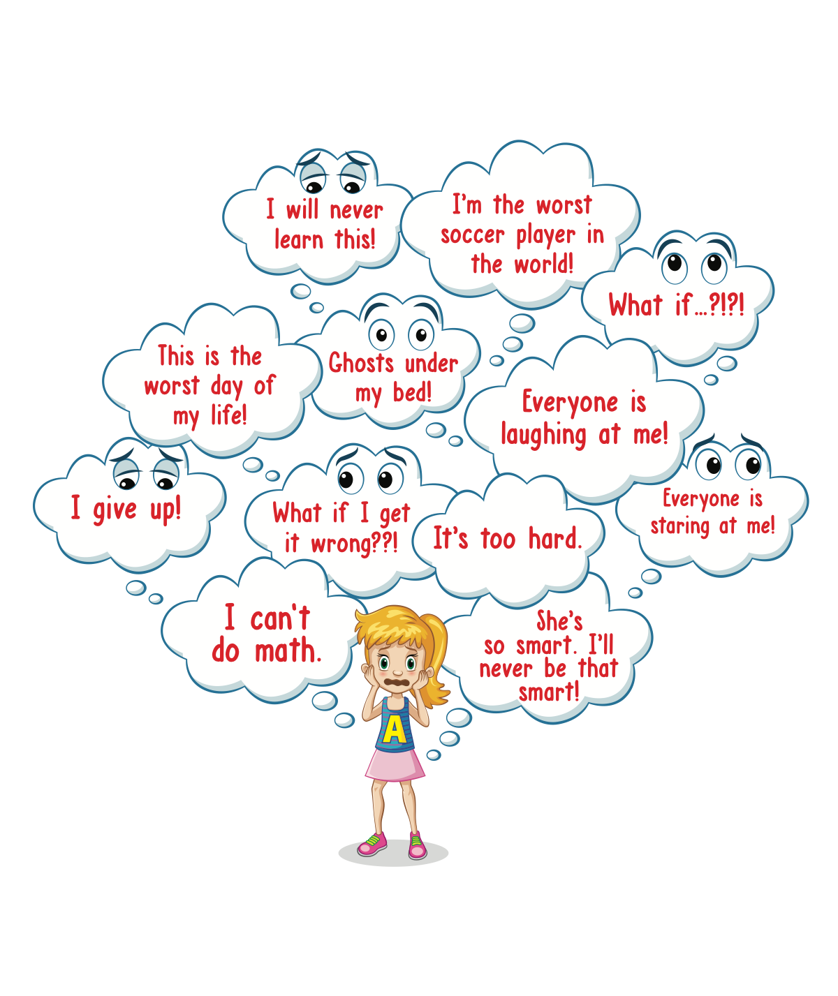 Confidence Girl & the Battle of the Scary Thoughts Illustrations