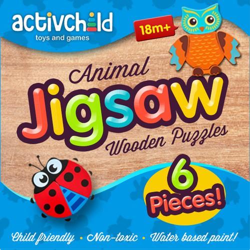 Children's Animal Wooden Jigsaw Puzzles Packaging Design