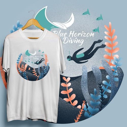 Ocean Graphic T-shirt for Blue Horizon Diving
