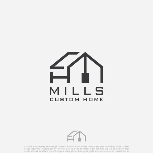 "logo concept for ""MILS CUSTOM HOMES"""