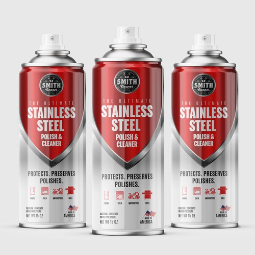 Aerosol can label for a stainless steel polish and cleaner