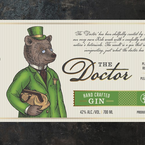 "Label and illustration for GIN ""The Doctor"""