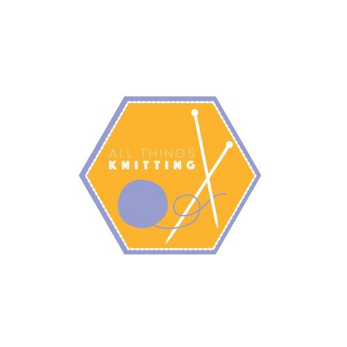 Retro knitting logo for craft store