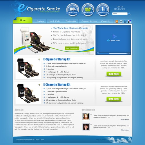 Complete Site Design Needed For E-Cigarette Online Site